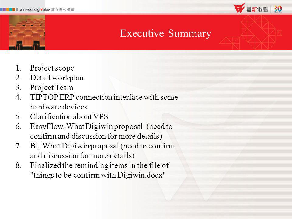 Executive Summary 1.Project scope 2.Detail workplan 3.Project Team 4.TIPTOP ERP connection interface with some hardware devices 5.Clarification about