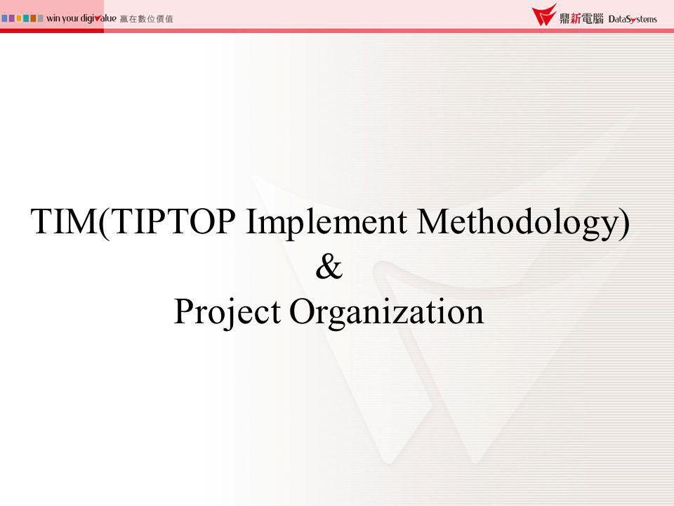 TIM ( TIPTOP Implementation Methodology ) Project PlanningImplementing TIPTOP Goes Live Project Closing Goals Scope Organization Schedule Survey & Diagnosis Application Training S.O.P.