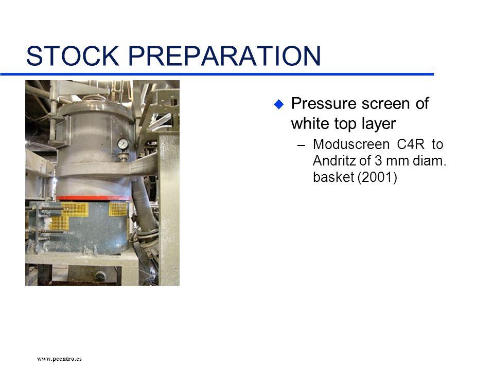 www.pcentro.es STOCK PREPARATION u Pressure screen of white top layer –Moduscreen C4R to Andritz of 3 mm diam.