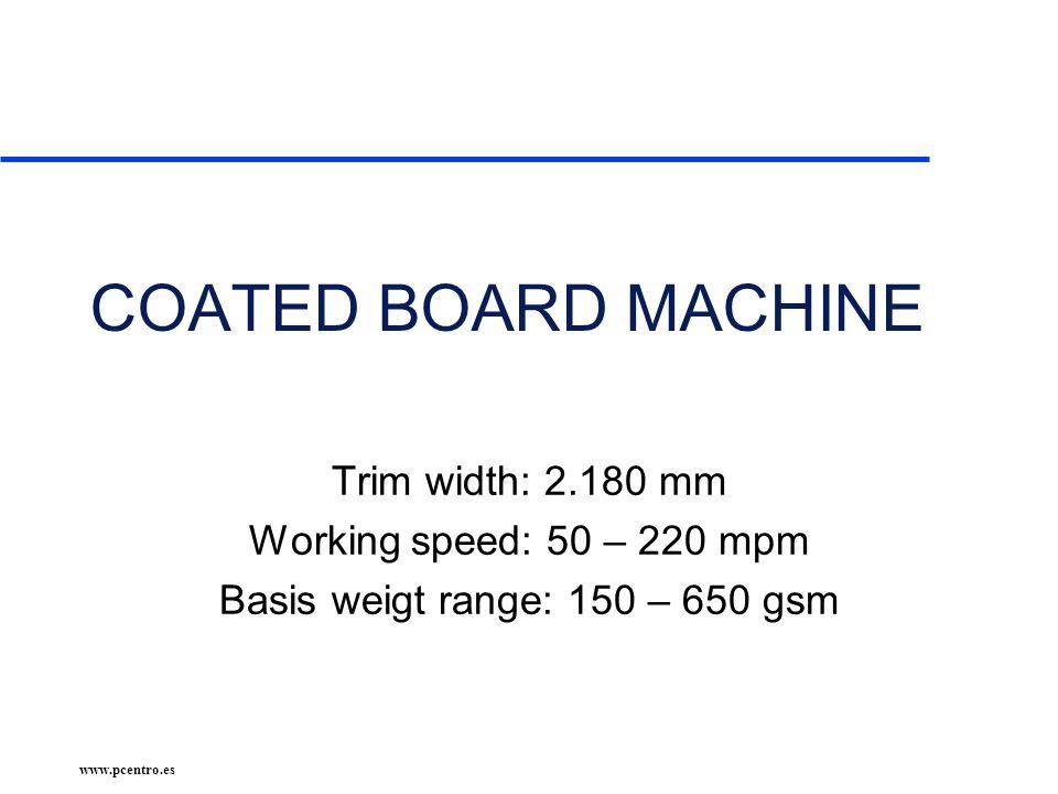 COATED BOARD MACHINE Trim width: 2.180 mm Working speed: 50 – 220 mpm Basis weigt range: 150 – 650 gsm