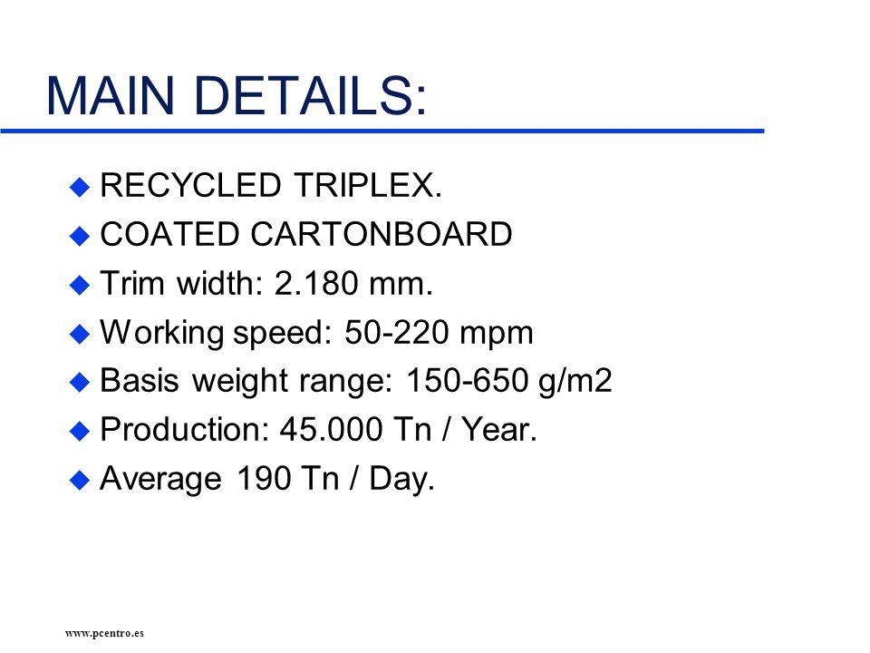 www.pcentro.es MAIN DETAILS: u RECYCLED TRIPLEX. u COATED CARTONBOARD u Trim width: 2.180 mm.