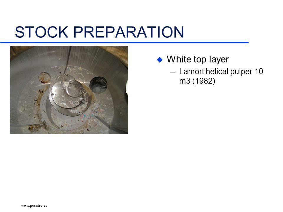 www.pcentro.es STOCK PREPARATION u White top layer –Lamort helical pulper 10 m3 (1982)