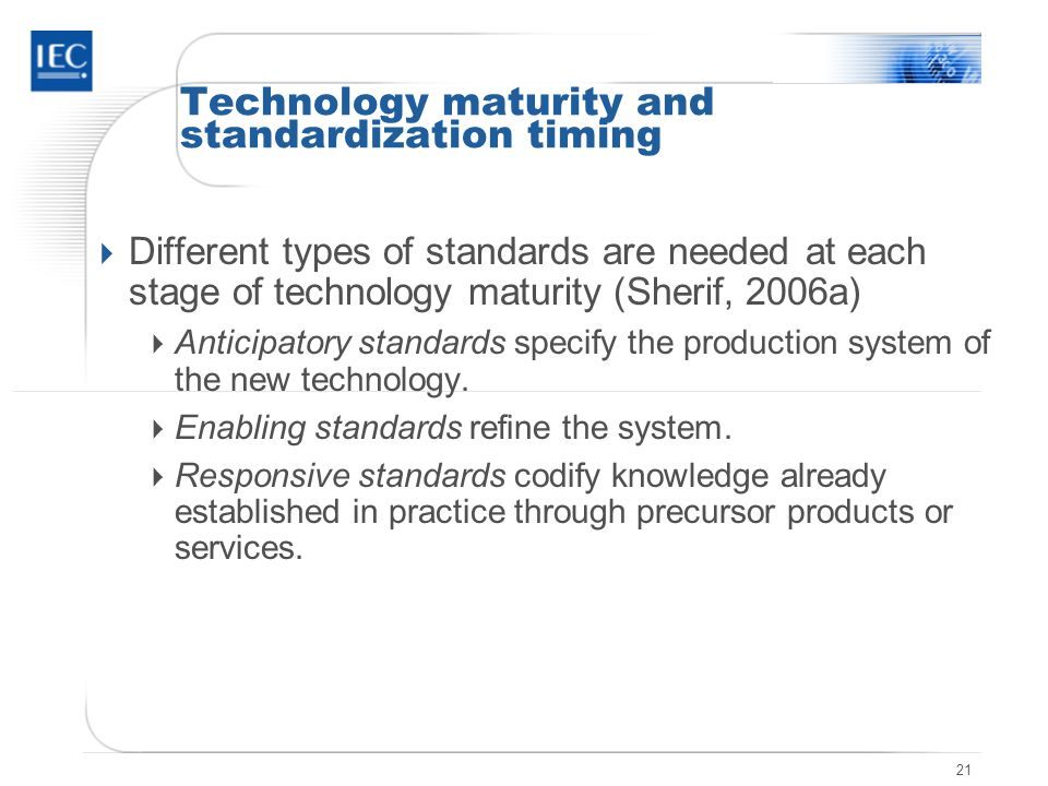 21 Technology maturity and standardization timing Different types of standards are needed at each stage of technology maturity (Sherif, 2006a) Anticipatory standards specify the production system of the new technology.