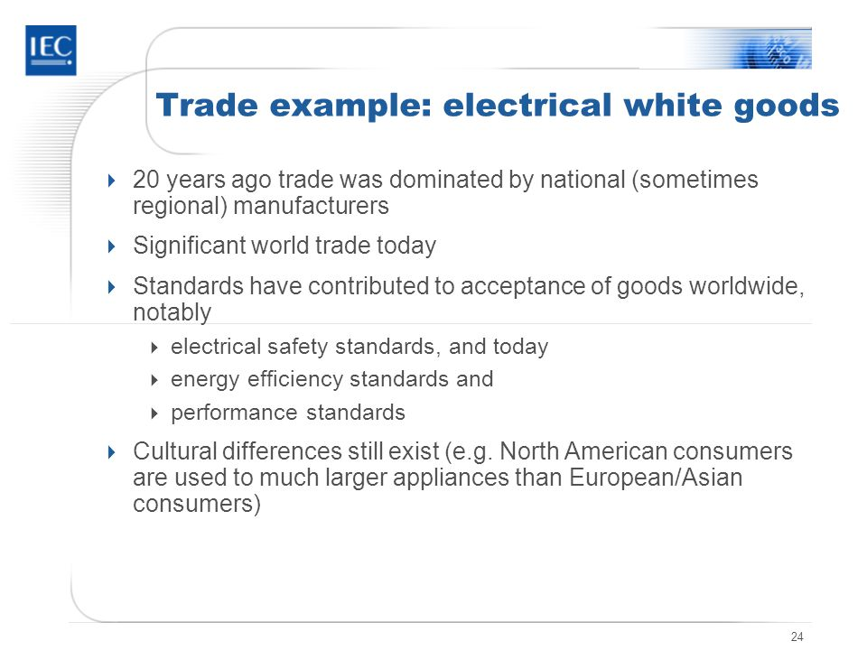24 Trade example: electrical white goods 20 years ago trade was dominated by national (sometimes regional) manufacturers Significant world trade today