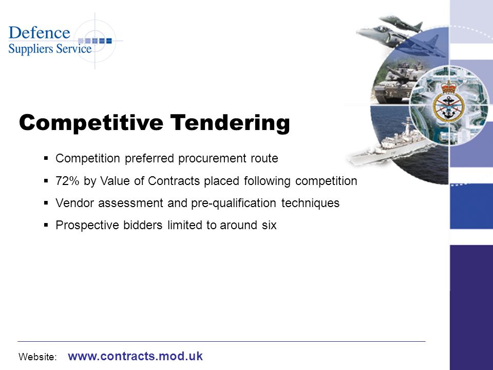 Website: www.contracts.mod.uk Competitive Tendering Competition preferred procurement route 72% by Value of Contracts placed following competition Vendor assessment and pre-qualification techniques Prospective bidders limited to around six