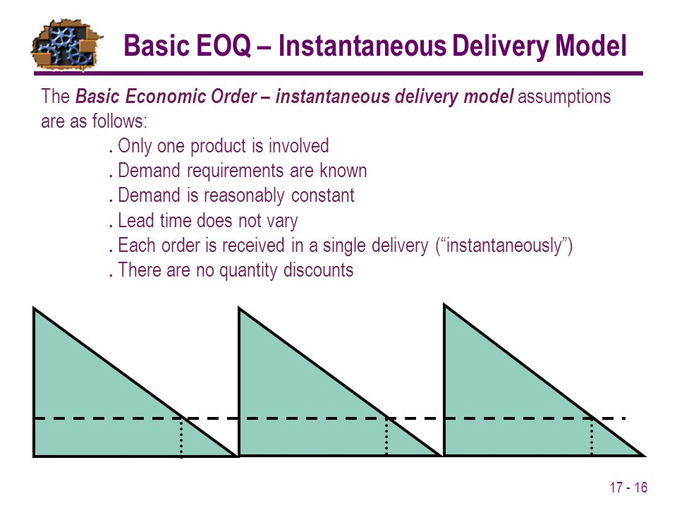 17 - 16 The Basic Economic Order – instantaneous delivery model assumptions are as follows:. Only one product is involved. Demand requirements are kno