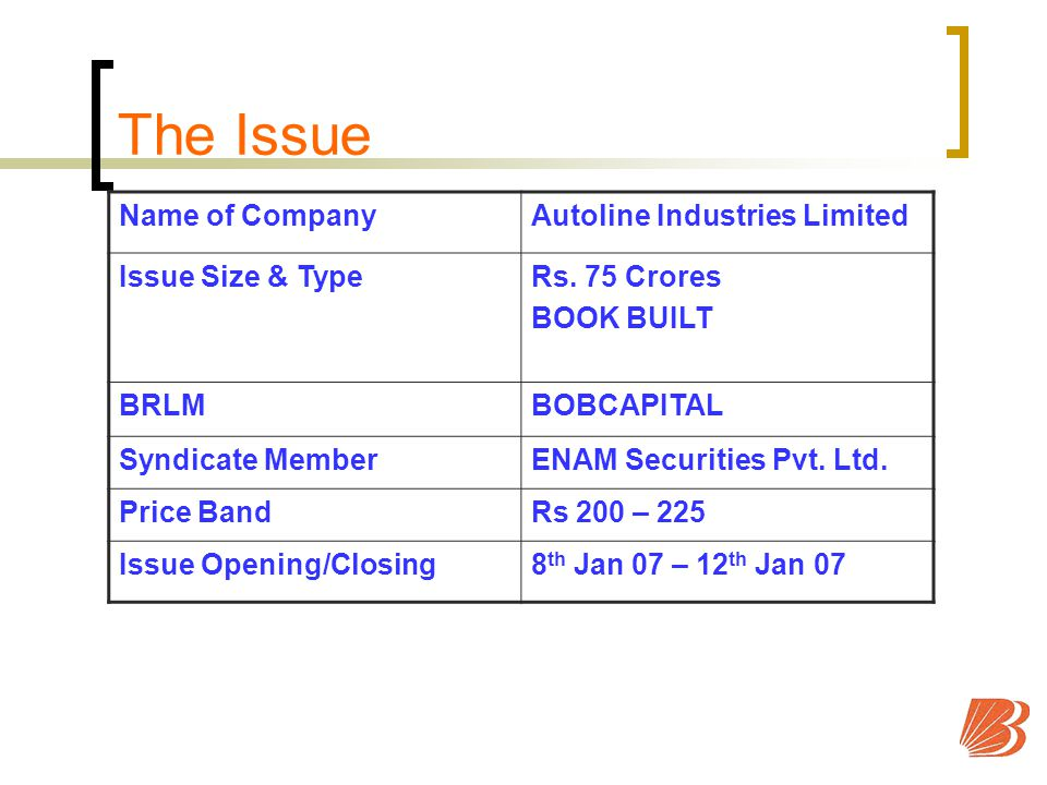 The Issue Name of CompanyAutoline Industries Limited Issue Size & TypeRs.