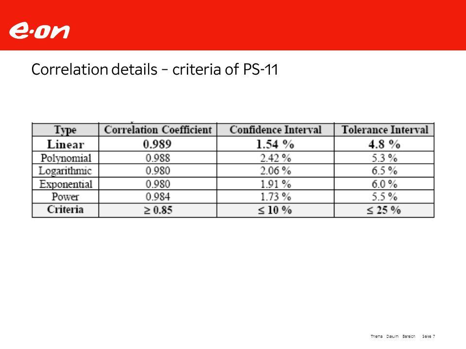 Seite 7Thema Datum Bereich Correlation details – criteria of PS-11