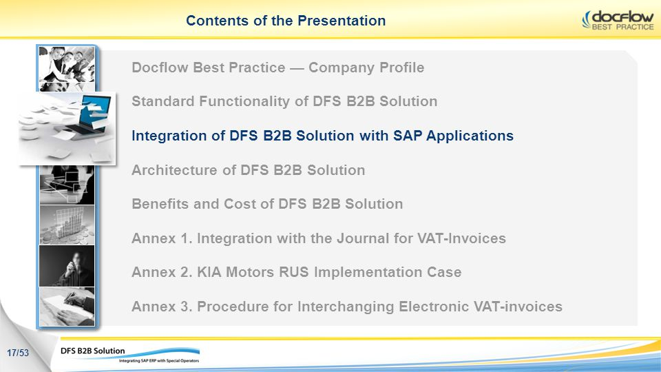 Contents of the Presentation 17/53 Docflow Best Practice Company Profile Standard Functionality of DFS B2B Solution Integration of DFS B2B Solution wi