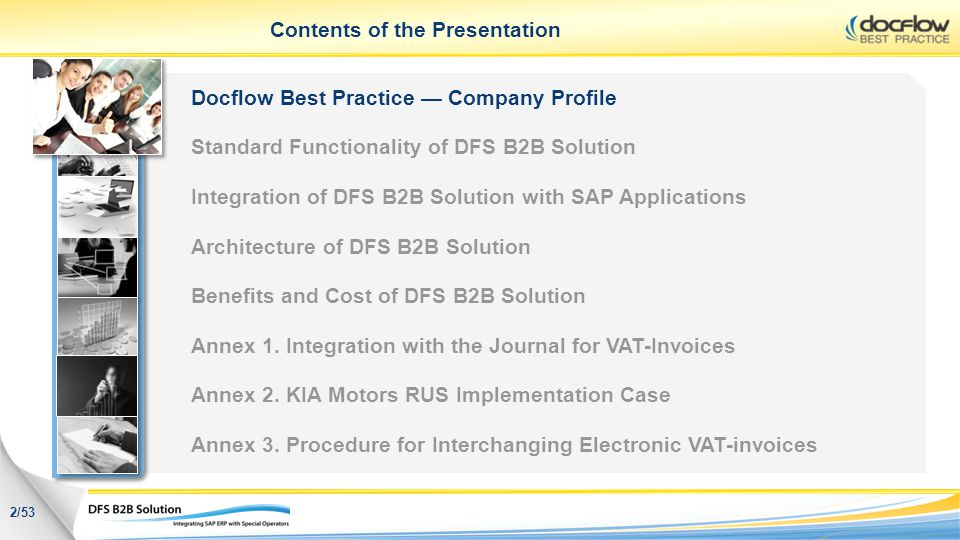 Contents of the Presentation Docflow Best Practice Company Profile Standard Functionality of DFS B2B Solution Integration of DFS B2B Solution with SAP