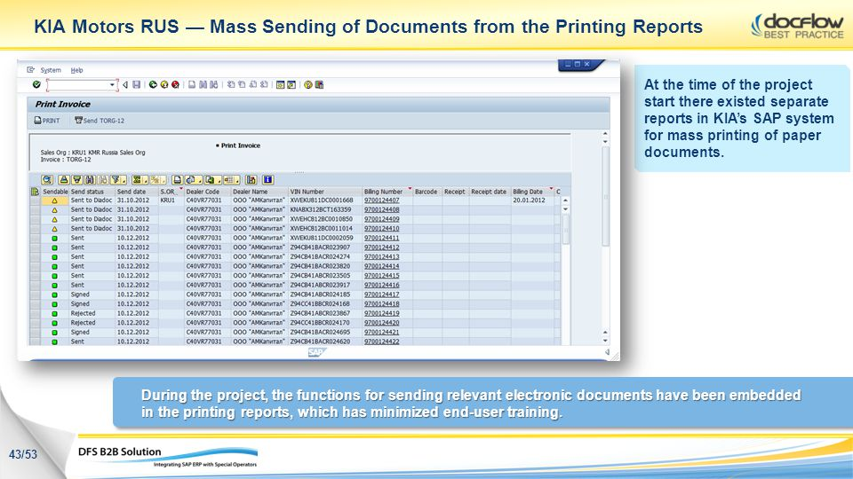 KIA Motors RUS Mass Sending of Documents from the Printing Reports At the time of the project start there existed separate reports in KIAs SAP system