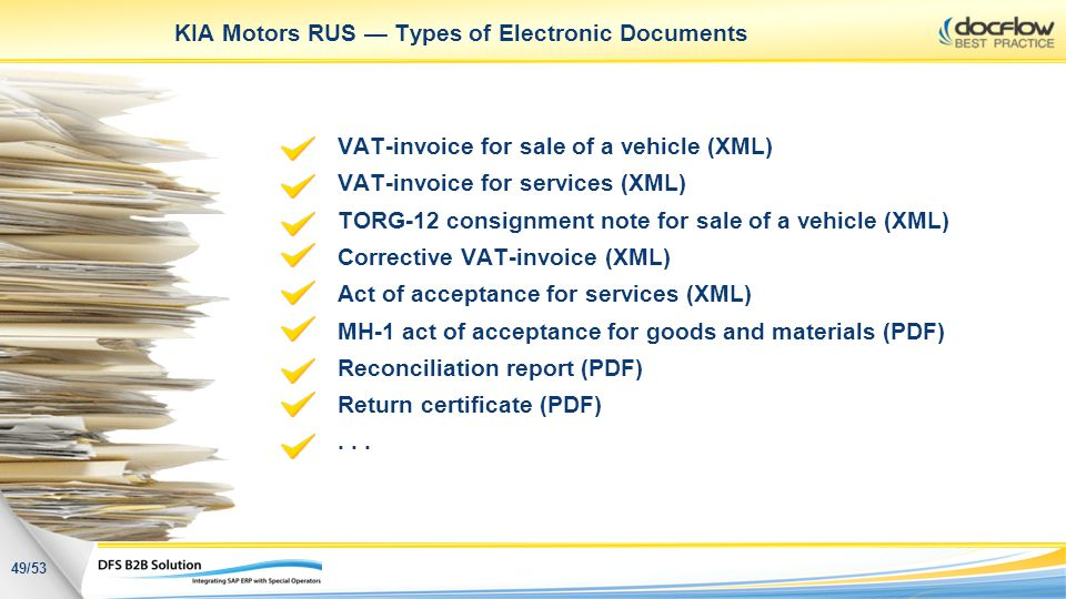 KIA Motors RUS Types of Electronic Documents VAT-invoice for sale of a vehicle (XML) VAT-invoice for services (XML) TORG-12 consignment note for sale
