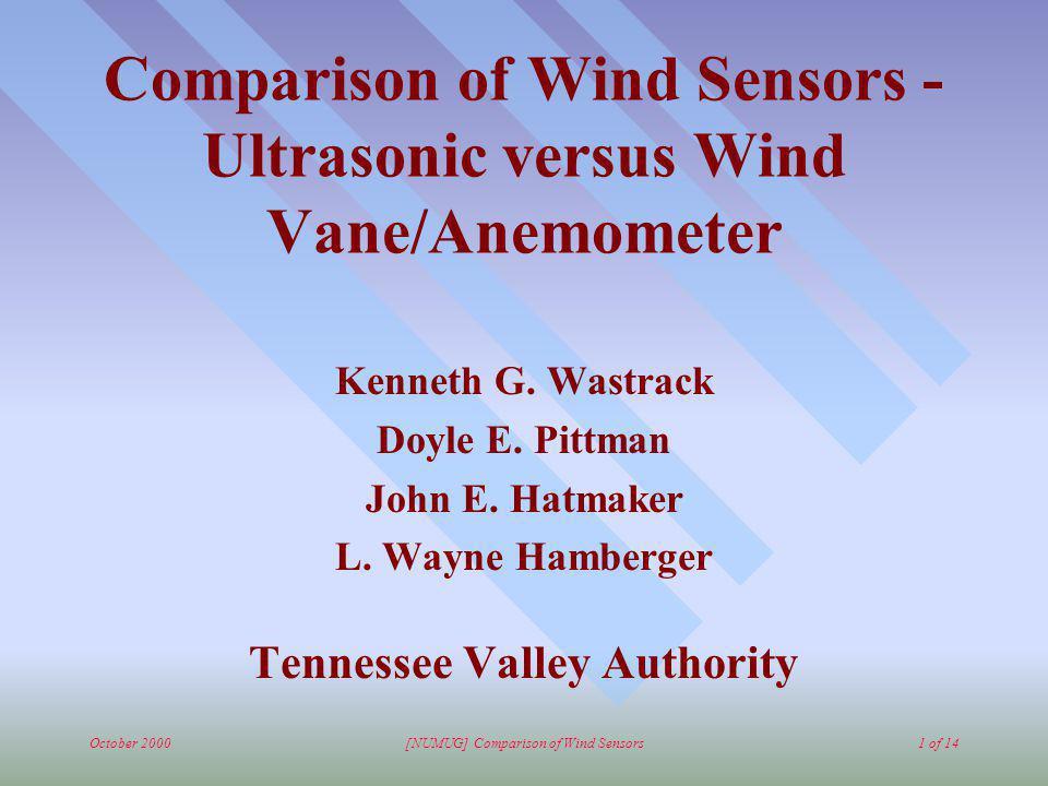 October 2000[NUMUG] Comparison of Wind Sensors1 of 14 Comparison of Wind Sensors - Ultrasonic versus Wind Vane/Anemometer Kenneth G.