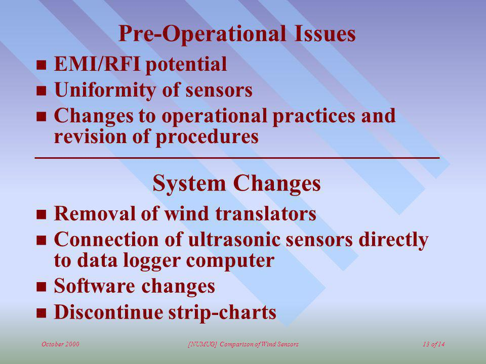 October 2000[NUMUG] Comparison of Wind Sensors13 of 14 Pre-Operational Issues n EMI/RFI potential n Uniformity of sensors n Changes to operational pra