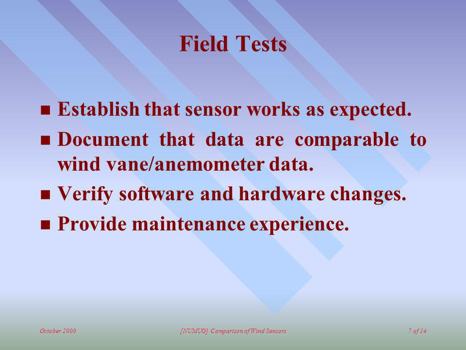 October 2000[NUMUG] Comparison of Wind Sensors7 of 14 Field Tests n Establish that sensor works as expected. n Document that data are comparable to wi