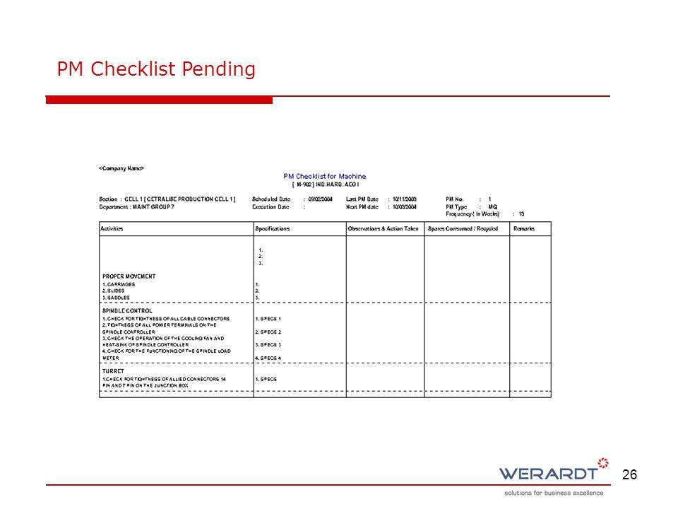 26 PM Checklist Pending