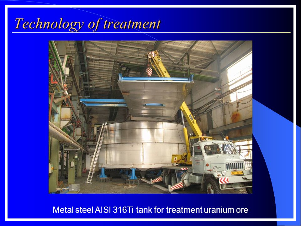 Technology of treatment Filter press measurements according to filter plate size: Metal steel AISI 316Ti tank for treatment uranium ore