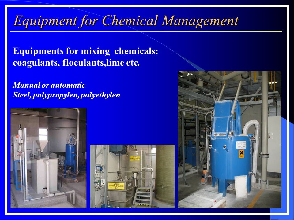 Equipment for Chemical Management Filter press measurements according to filter plate size: Equipments for mixing chemicals: coagulants, floculants,li