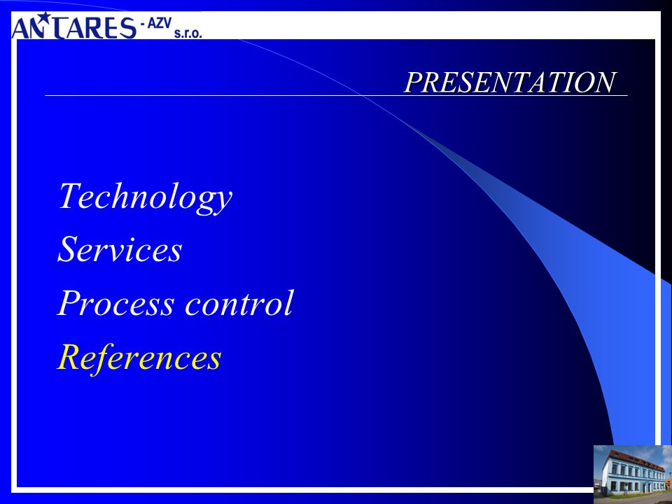 PRESENTATION Technology Services Process control References