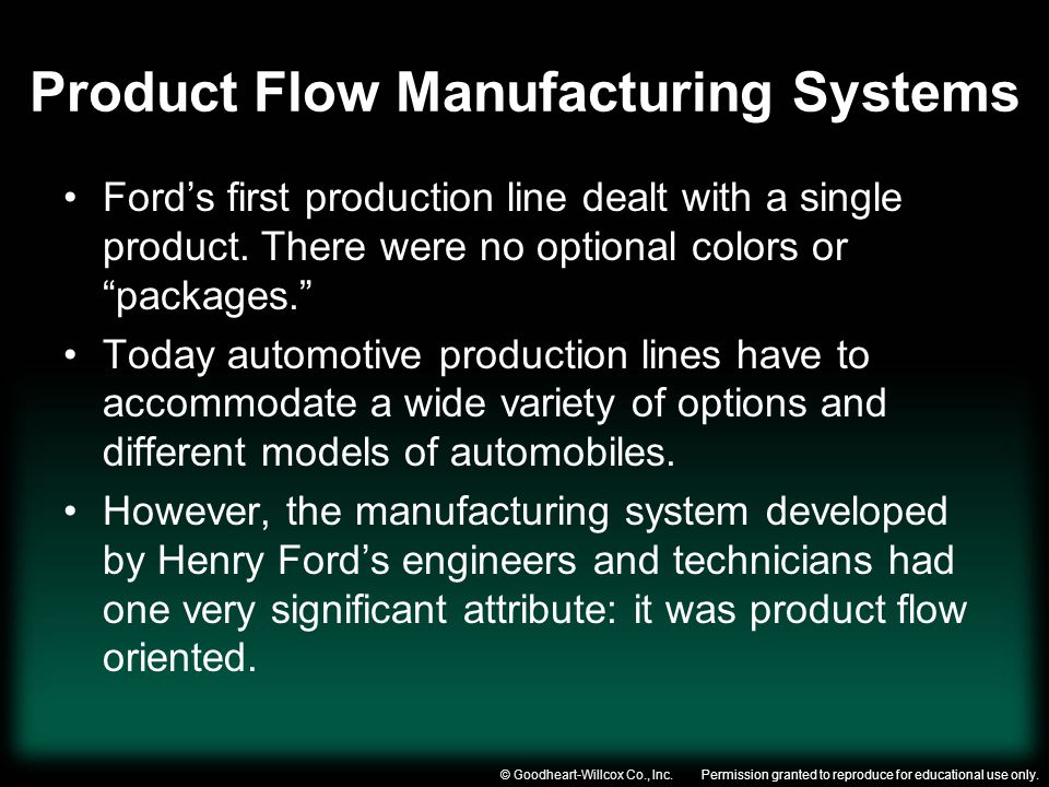 Permission granted to reproduce for educational use only.© Goodheart-Willcox Co., Inc. Product Flow Manufacturing Systems Fords first production line