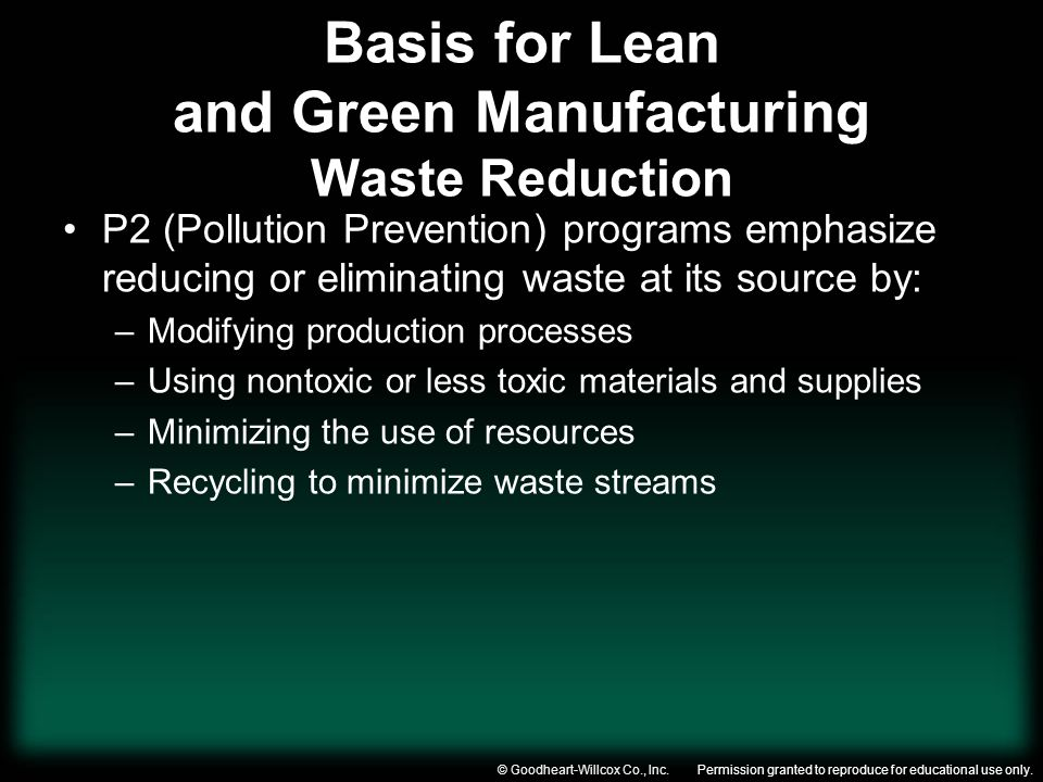 Permission granted to reproduce for educational use only.© Goodheart-Willcox Co., Inc. Basis for Lean and Green Manufacturing Waste Reduction P2 (Poll