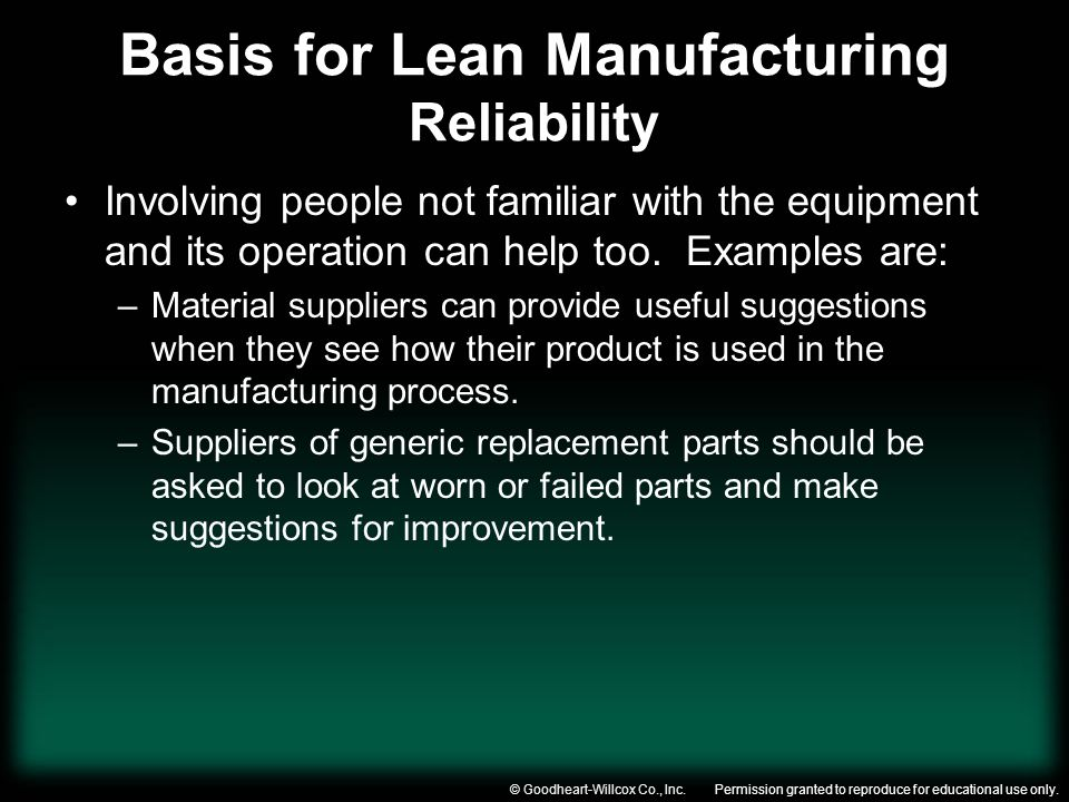 Permission granted to reproduce for educational use only.© Goodheart-Willcox Co., Inc. Basis for Lean Manufacturing Reliability Involving people not f