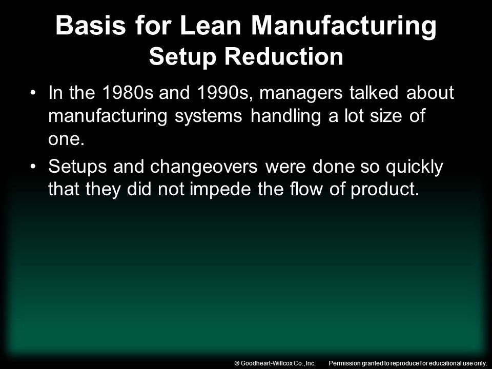 Permission granted to reproduce for educational use only.© Goodheart-Willcox Co., Inc. Basis for Lean Manufacturing Setup Reduction In the 1980s and 1