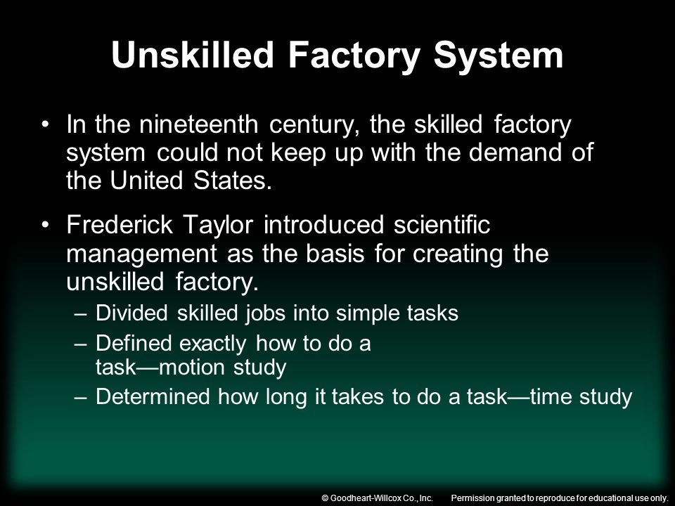 Permission granted to reproduce for educational use only.© Goodheart-Willcox Co., Inc. Unskilled Factory System In the nineteenth century, the skilled
