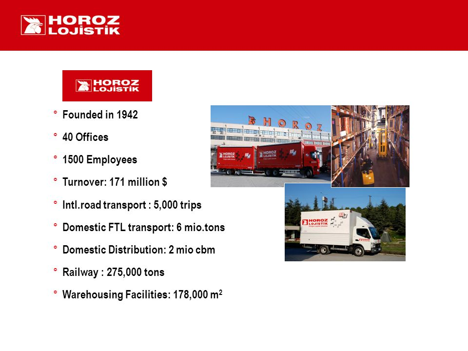 ° Founded in 1942 ° 40 Offices ° 1500 Employees ° Turnover: 171 million $ ° Intl.road transport : 5,000 trips ° Domestic FTL transport: 6 mio.tons ° Domestic Distribution: 2 mio cbm ° Railway : 275,000 tons ° Warehousing Facilities: 178,000 m 2