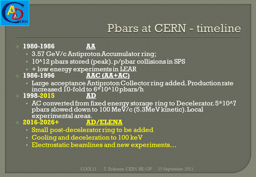 1980-1986AA 3.57 GeV/c Antiproton Accumulator ring; 10^12 pbars stored (peak). p/pbar collisions in SPS + low energy experiments in LEAR 1986-1996AAC
