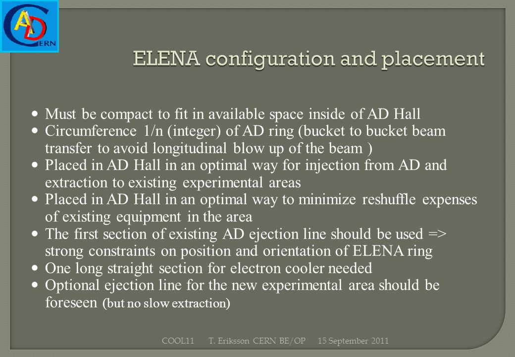 ELENA configuration and placement Must be compact to fit in available space inside of AD Hall Circumference 1/n (integer) of AD ring (bucket to bucket beam transfer to avoid longitudinal blow up of the beam ) Placed in AD Hall in an optimal way for injection from AD and extraction to existing experimental areas Placed in AD Hall in an optimal way to minimize reshuffle expenses of existing equipment in the area The first section of existing AD ejection line should be used => strong constraints on position and orientation of ELENA ring One long straight section for electron cooler needed Optional ejection line for the new experimental area should be foreseen (but no slow extraction) 15 September 2011COOL11 T.