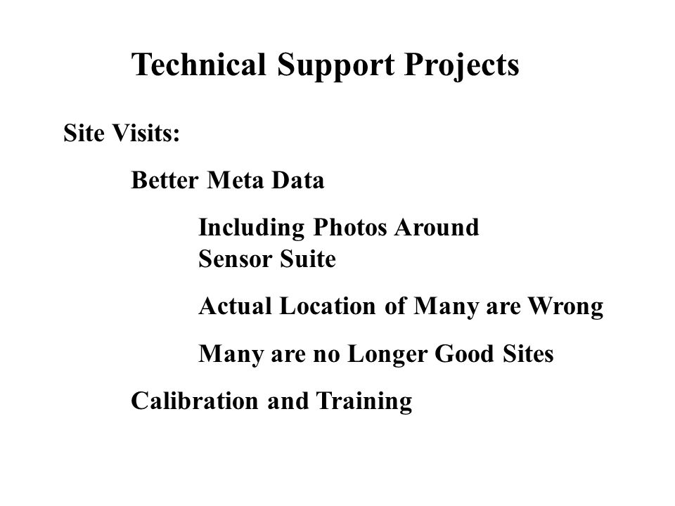 Technical Support Projects Site Visits: Better Meta Data Including Photos Around Sensor Suite Actual Location of Many are Wrong Many are no Longer Good Sites Calibration and Training