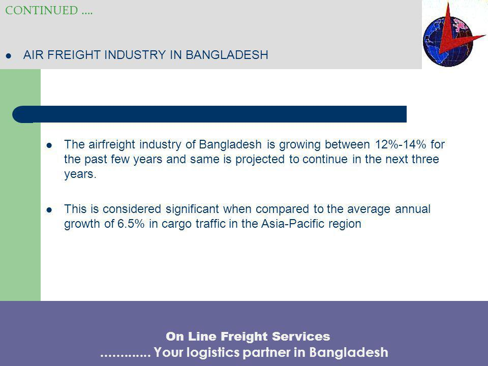 AIR FREIGHT INDUSTRY IN BANGLADESH CONTINUED …. The airfreight industry of Bangladesh is growing between 12%-14% for the past few years and same is pr