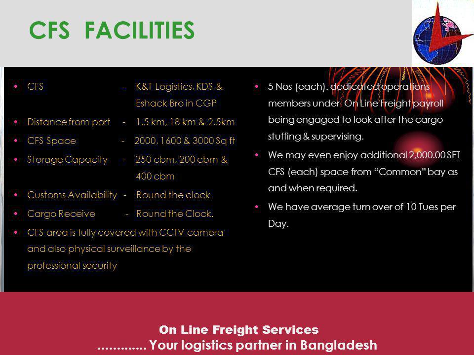 CFS FACILITIES CFS - K&T Logistics, KDS & Eshack Bro in CGP Distance from port - 1.5 km, 18 km & 2.5km CFS Space - 2000, 1600 & 3000 Sq ft Storage Cap
