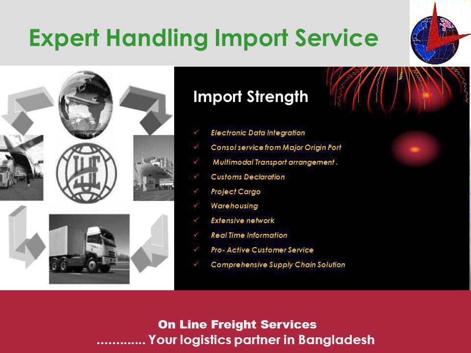 Expert Handling Import Service Import Strength Electronic Data Integration Consol service from Major Origin Port Multimodal Transport arrangement. Cus