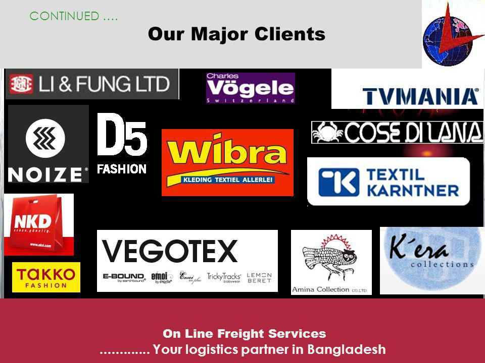 Our Major Clients CONTINUED …. On Line Freight Services............. Your logistics partner in Bangladesh
