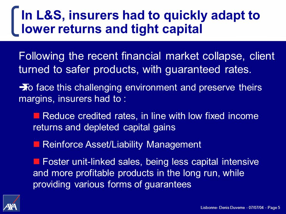 Lisbonne- Denis Duverne - 07/07/04 - Page 5 In L&S, insurers had to quickly adapt to lower returns and tight capital Following the recent financial market collapse, client turned to safer products, with guaranteed rates.