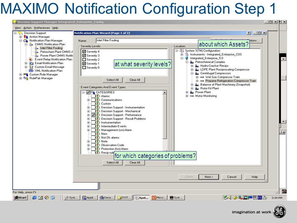 MAXIMO Notification Configuration Step 1 about which Assets? at what severity levels? for which categories of problems?