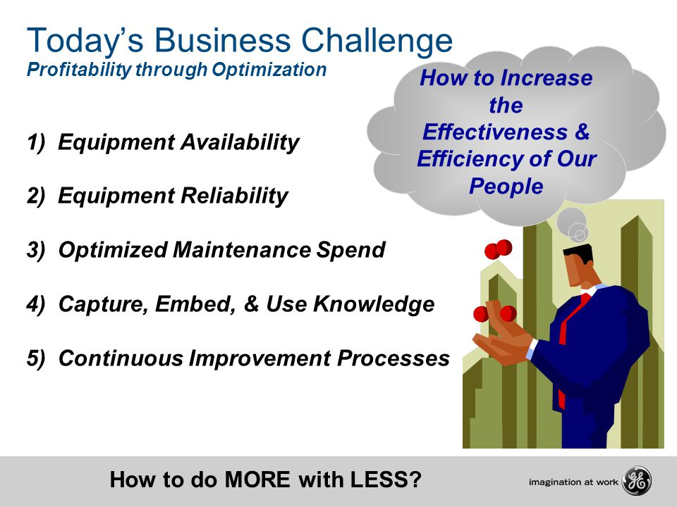 Todays Business Challenge Profitability through Optimization 1) Equipment Availability 2) Equipment Reliability 3) Optimized Maintenance Spend 4) Capt