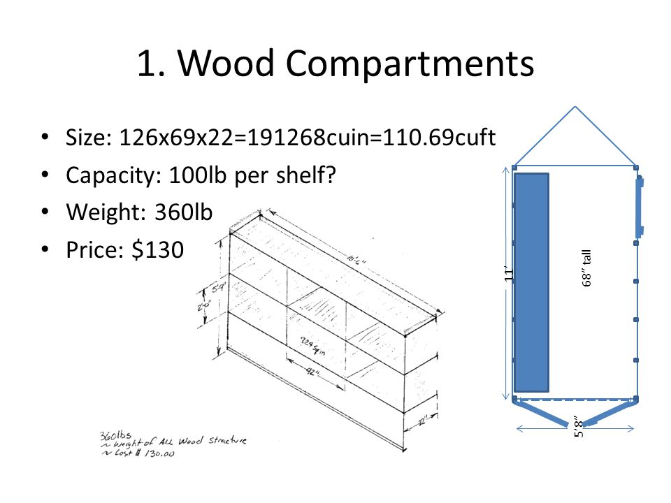1. Wood Compartments 11 58 68 tall Size: 126x69x22=191268cuin=110.69cuft Capacity: 100lb per shelf? Weight: 360lb Price: $130