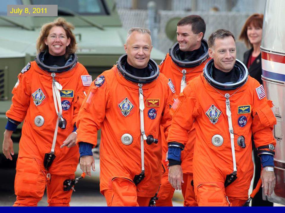 The space shuttle Atlantis astronauts left to right, mission specialists Rex Walheim, Sandra Magnus, pilot Doug Hurley and commander Chris Ferguson.
