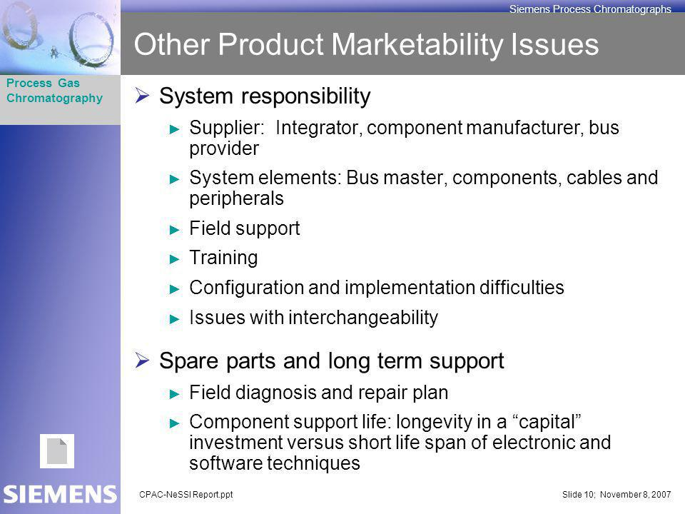 CPAC-NeSSI Report.pptSlide 10; November 8, 2007 Process Gas Chromatography Siemens Process Chromatographs Other Product Marketability Issues System re