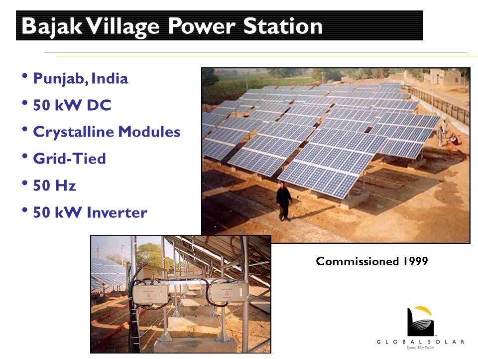 Punjab, India 50 kW DC Crystalline Modules Grid-Tied 50 Hz 50 kW Inverter Commissioned 1999 Bajak Village Power Station