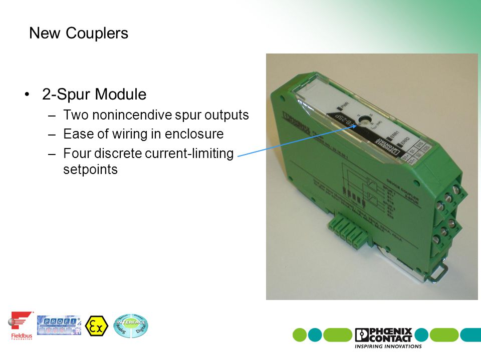 2-Spur Module –Two nonincendive spur outputs –Ease of wiring in enclosure –Four discrete current-limiting setpoints New Couplers