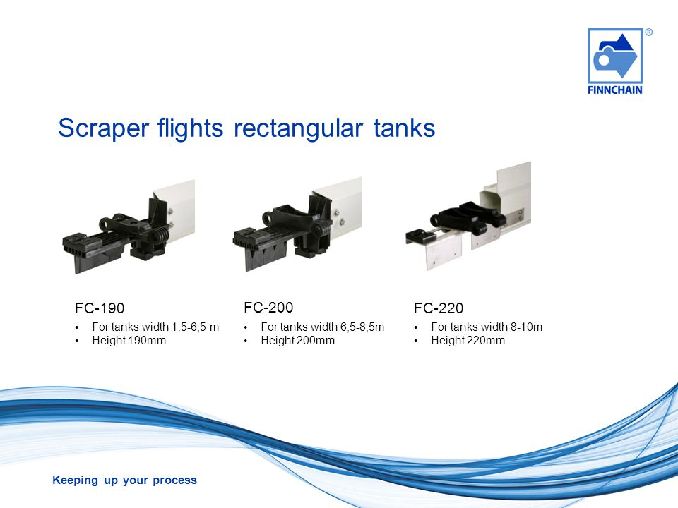 Keeping up your process Scraper flights rectangular tanks FC-190 FC-200 FC-220 For tanks width 1.5-6,5 m Height 190mm For tanks width 6,5-8,5m Height