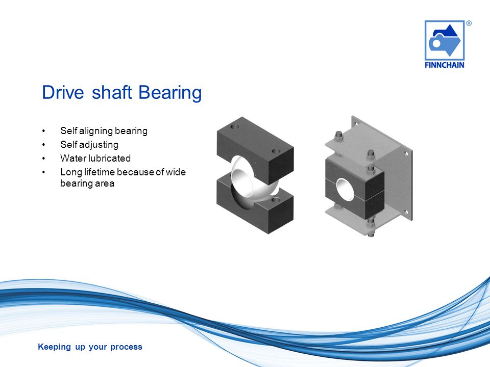 Keeping up your process Drive shaft Bearing Self aligning bearing Self adjusting Water lubricated Long lifetime because of wide bearing area