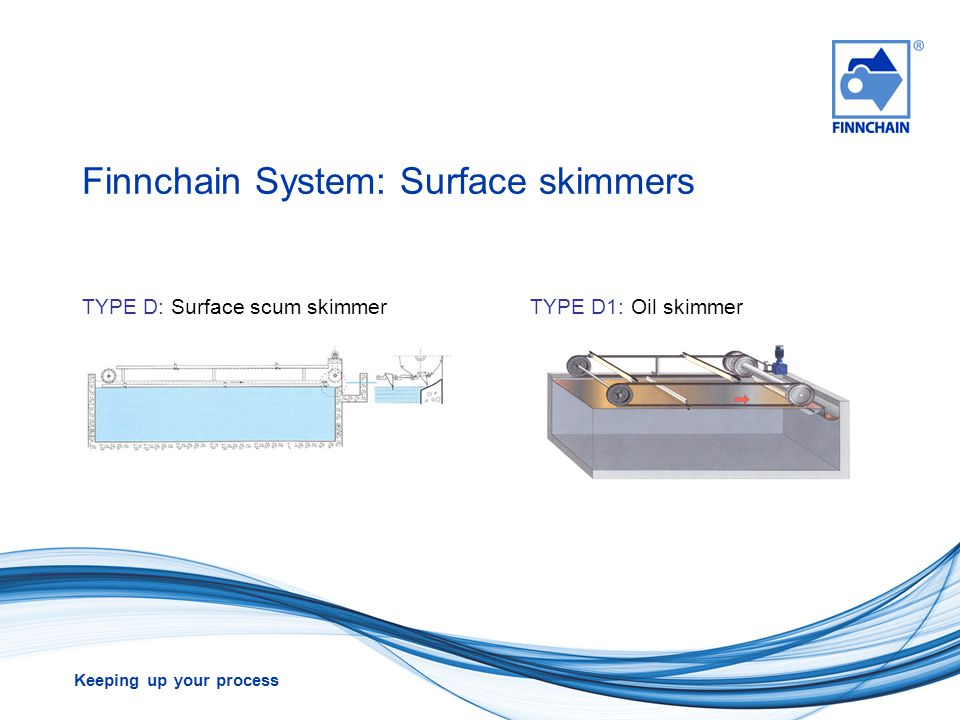 Keeping up your process Finnchain System: Surface skimmers TYPE D: Surface scum skimmerTYPE D1: Oil skimmer
