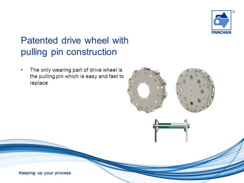 Keeping up your process Lifetime comparison Finnchain HA-chains with variable pitch drive wheel Traditional chains with sprocket wheel Wear