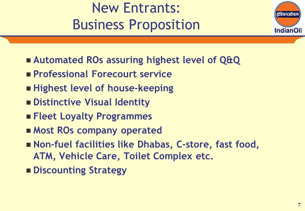 7 New Entrants: Business Proposition Automated ROs assuring highest level of Q&Q Professional Forecourt service Highest level of house-keeping Distinctive Visual Identity Fleet Loyalty Programmes Most ROs company operated Non-fuel facilities like Dhabas, C-store, fast food, ATM, Vehicle Care, Toilet Complex etc.