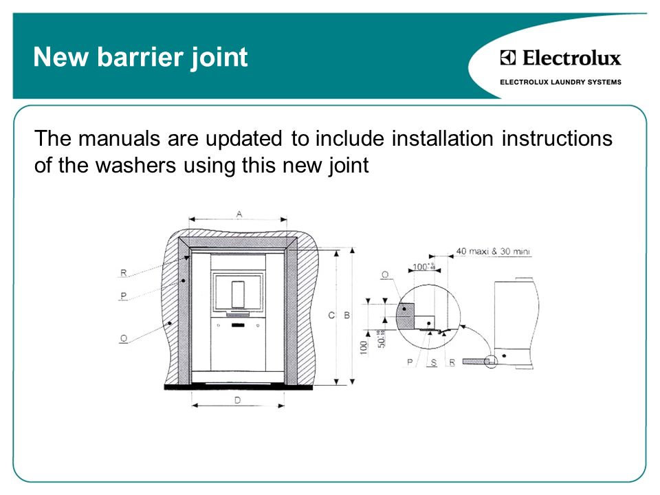 The manuals are updated to include installation instructions of the washers using this new joint New barrier joint